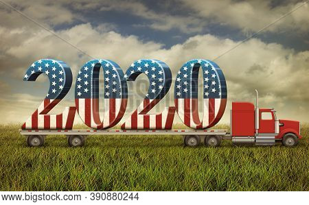 Illustration Of A Flatbed Truck Carrying United States Flag Based Numbers 2020. 3d Illustration