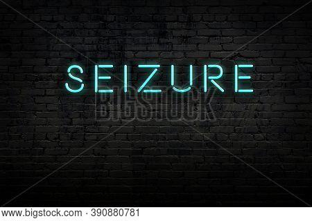 Neon Sign With Inscription Seizure Against Brick Wall. Night View