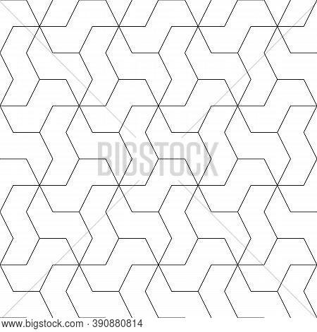 Mosaic. Zigzag Figures Ornament. Repeated Puzzle Shapes Background. Mosaics Motif. Grate Wallpaper.