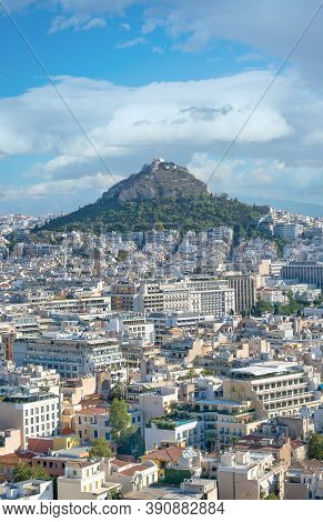 View Of Athens And Mount Lycabettus, Also Known As Lycabettos, Lykabettos Or Lykavittos In Vertical