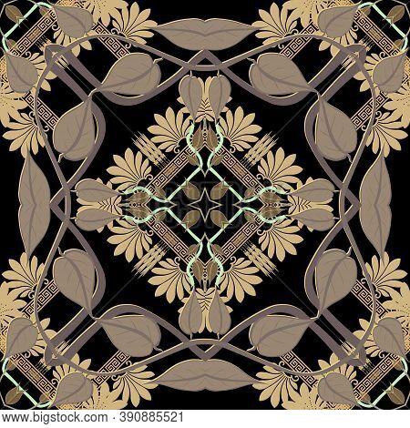 Greek Leafy Floral Seamless Patttern. Vector Ornamental Ethnic Background. Geometric Backdrop. Greek