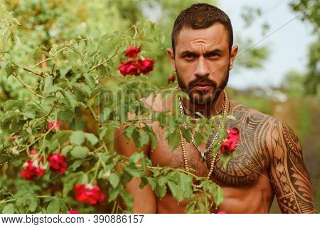 Sensual Men. Handsome Sexy Topless Male Model With Beautiful Eyes. Sexy Masculine Man Shirtless Outd
