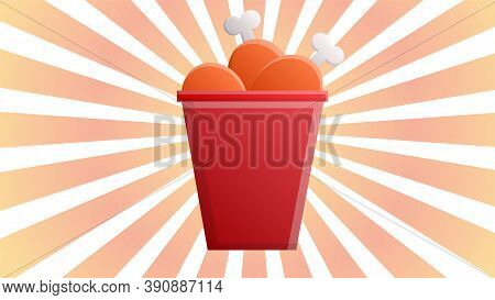 Chicken Legs In A Red Bucket On A White-orange Retro Background, Vector Illustration. Delicious Bake