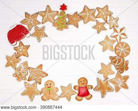 Delicious Homemade Christmas Cookies On White Background With Free Space For Text. Watercolor New Ye