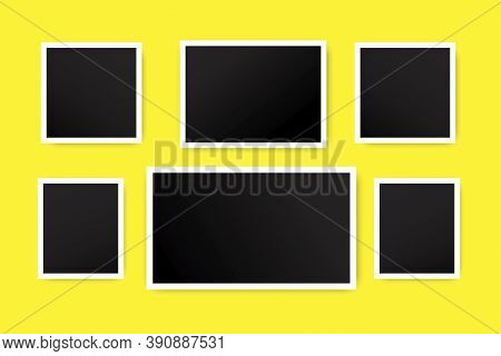 Vector Set Of Black Photos On A Yellow Background. Samples Of Frames For The Album. Vintage Blank Re
