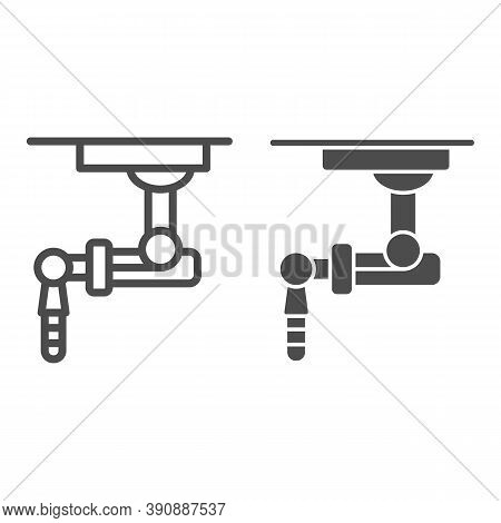 Robotic Machine Line And Solid Icon, Robotization Concept, Robot Sign On White Background, Robotic H