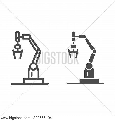 Robot Machine Line And Solid Icon, Robotization Concept, Robotic Hand Manipulator Sign On White Back