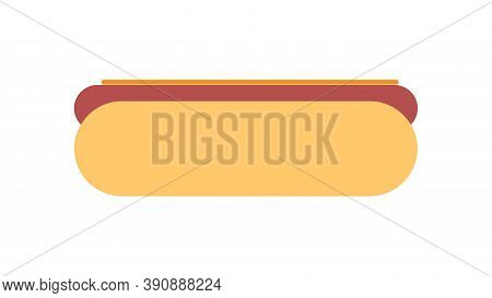 Sandwich On A White Background, Vector Illustration. Bun With Sausage, Hearty Filling, Unhealthy Sna