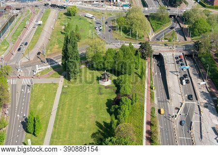 Rotterdam, Netherlands - April 29, 2019 : Het Dam Paviljoen In Parkhaven Surrounded By Roads Aerial