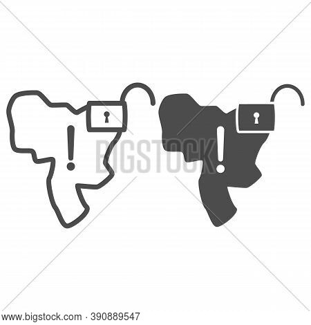 Country With Open Lock And Exclamation Point Line And Solid Icon, Economic Sanctions Concept, Countr