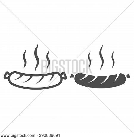 Hot Grilled Sausage Line And Solid Icon, Oktoberfest Concept, Oktoberfest Festival Traditional Food