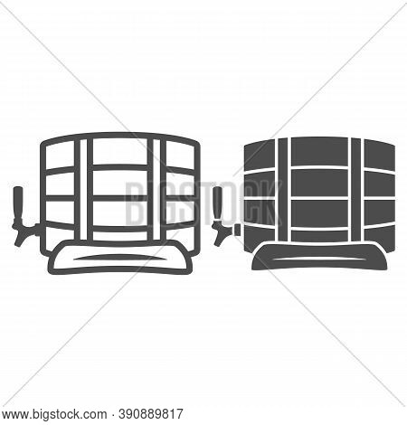 Barrel Of Beer Line And Solid Icon, Oktoberfest Concept, Wooden Keg Sign On White Background, Beer B