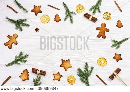 Baked Christmas Ginger Biscuits, Traditional Shape Star, Christmas Tree, Snowman, Xmas Sweet Food Ba