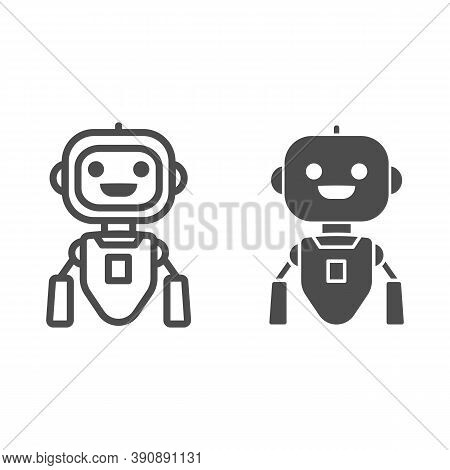 Cheerful Flying Robot Line And Solid Icon, Robotization Concept, Robot Toy Sign On White Background,
