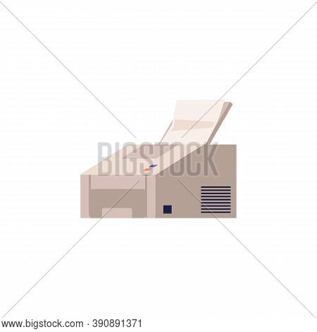 Printer Or Photocopier With Paper Flat Cartoon Vector Illustration Isolated.