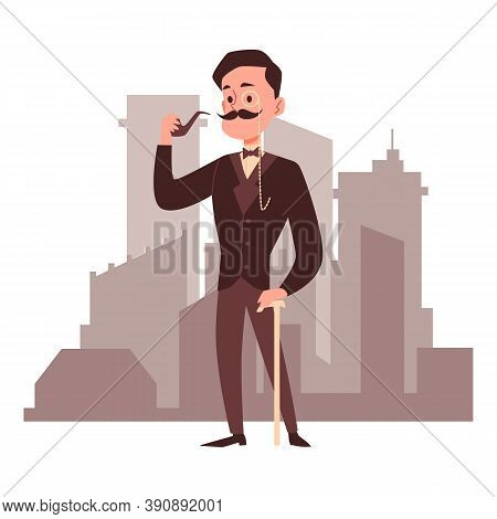 Old Fashioned Vintage Gentleman Smoking Pipe Flat Vector Illustration Isolated.