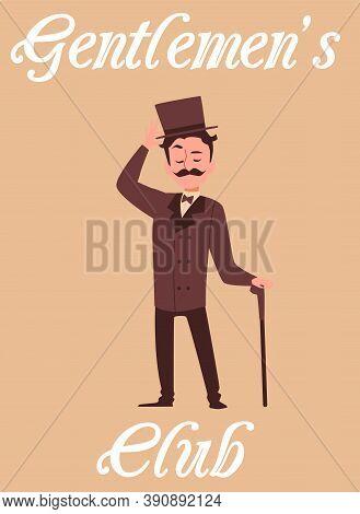 Gentlemen Club Poster And Victorian Gentleman, Flat Cartoon Vector Illustration