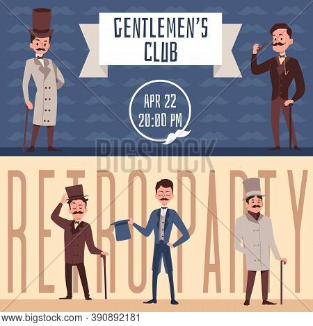 Set Of Banners For Gentlemens Club Or Retro Party Flat Vector Illustration.