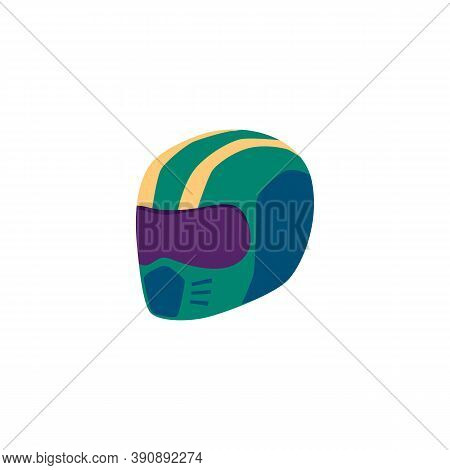 Helmet Of Car Racing Driver Or Motorcyclist Flat Vector Illustration Isolated.