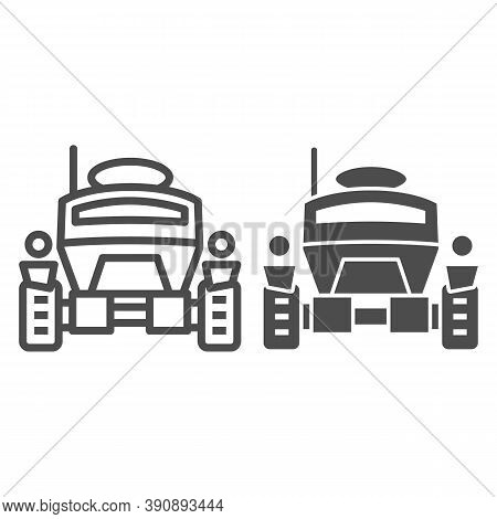 Lunar Robot Line And Solid Icon, Robotization Concept, Lunar Rover Sign On White Background, Space R
