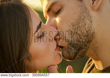 Voluptuous Concept. Tempting Kiss. Desire. Romance Concept. Sexual Energy. Sexy Couple In Love. Girl