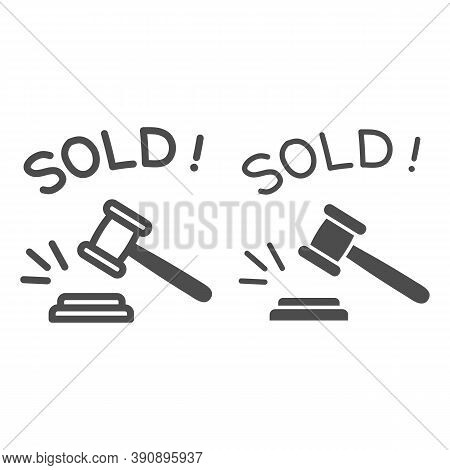 Auction Hammer With Sold Text Line And Solid Icon, Finance Concept, Hitting Wooden Gavel In Auction