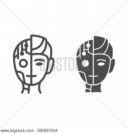 Robot Man Line And Solid Icon, Robotization Concept, Neuro Interface Sign On White Background, Digit