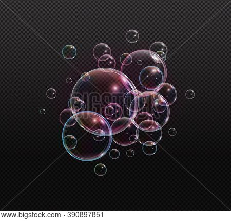 Bath Foam Soap With Neon Bubbles Isolated Vector Illustration On Transparent Background. Colorful Cl