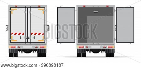 Truck Trailer Rear View Side With Closed And Open Doors. Delivery Van Isolated. Express Delivering S