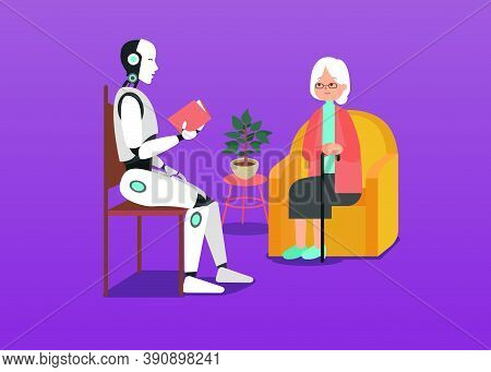 Smart Cyborg With Artificial Intelligence Cares About Grandmother And Reads A Book For Her. Clipart
