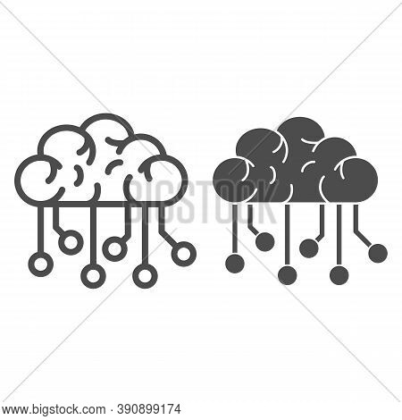 Electronic Brain Line And Solid Icon, Robotization Concept, Neural Network Sign On White Background,
