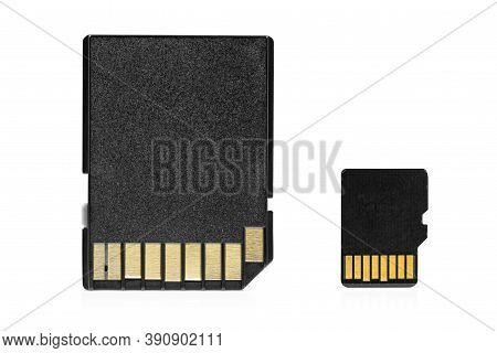 Microsd Memory Card With Adapter Isolated On White Background With Clipping Path