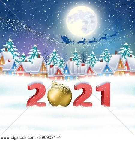 Happy New Year And Merry Christmas Winter Village With Trees. Santa Claus With Deers In Sky Above Th