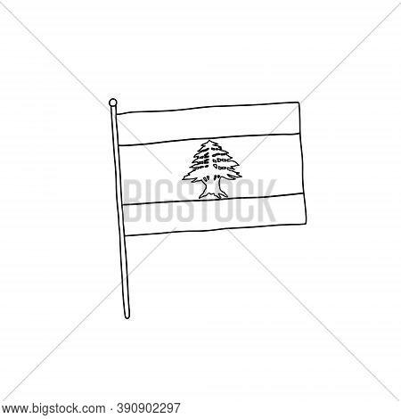 Lebanese Flag Vector, Outline Illustration. Vector Black And White Lebanese Flag.