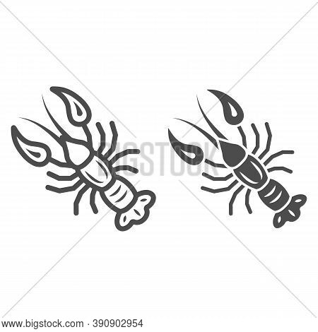 Boiled Crayfish For Beer Festival Line And Solid Icon, Oktoberfest Concept, Well-done Crayfish Sign