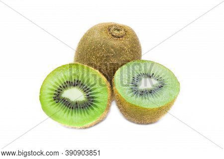 Fresh And Juicy Whole Organic Kiwi Fruit On White Isolated Background In Close Up View Macro Concept