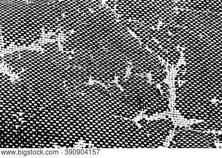 Grunge Texture Of Old Damaged Rough Fabric. Monochrome Background Of The Dark Canvas Of The Tent Wit