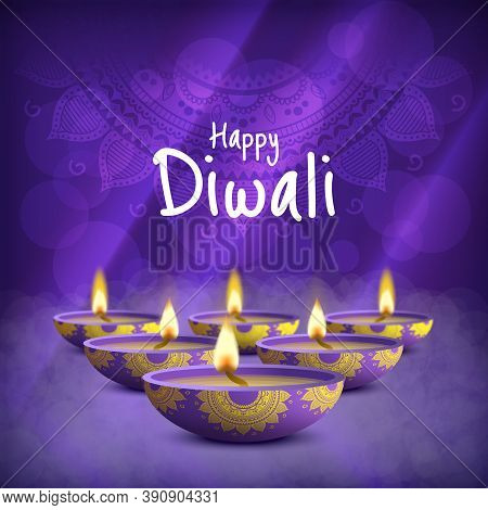 Vector Illustration Of The Holiday Diwali. Deepavali.  Festival Of Lights.