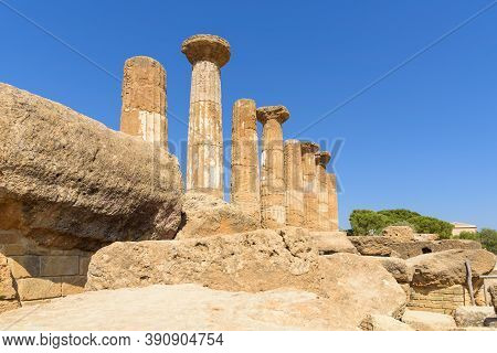 Ruins Of Th Temple Of Hercules In The Valley Of The Temples In Agrigento, Sicily, Italy