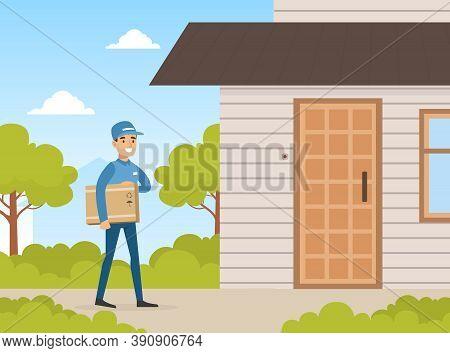 Male Postman Courier Delivering Parcel Box To Customer Door, Delivery Service Concept Vector Illustr