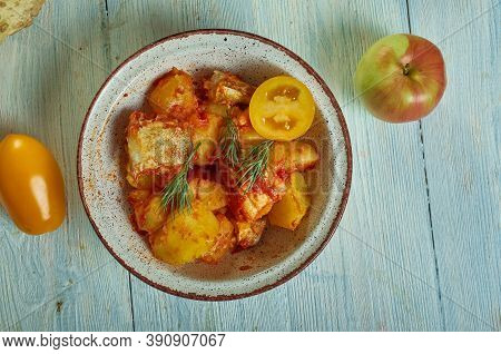 Baccala Con Patate - Stewed Salted Cod With Potatoes, Italian Dishes