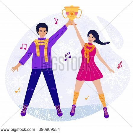 Girl And Man Receive A Figure Skating Award, Vector Illustration Of Ice Skating Flat Cartoon Pair