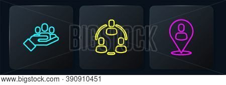 Set Line Hand For Search A People, Worker Location And Project Team Base. Black Square Button. Vecto