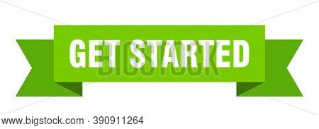 Get Started Ribbon. Get Started Isolated Sign. Banner