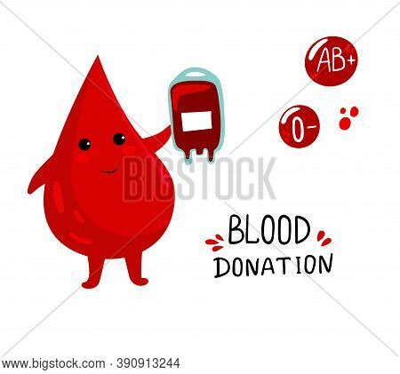 Set Of Vector Illustration For World Blood Donor Day With Cute Cartoon Blood Drops Character With Bl