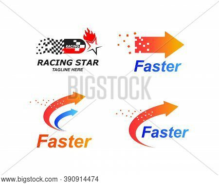Faster Logo Icon Of Automotive Racing Concept
