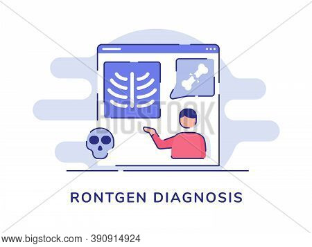 Rontgen Diagnosis Concept Men Present Bone Fracture On Display Computer Screen White Isolated Backgr