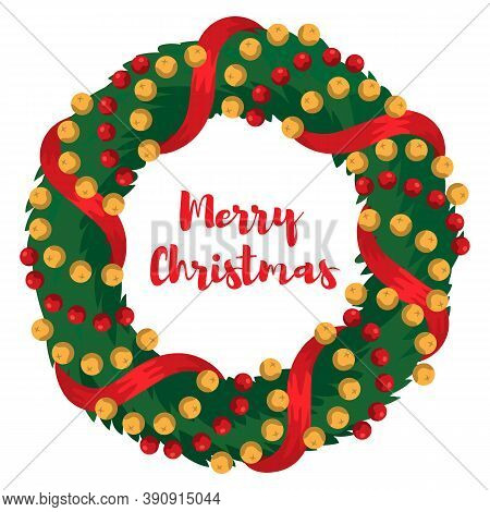 Christmas Evergreen Holiday Wreath. Holly And Pine Wreath With Red Ribbons And Baubles. Good For Gre