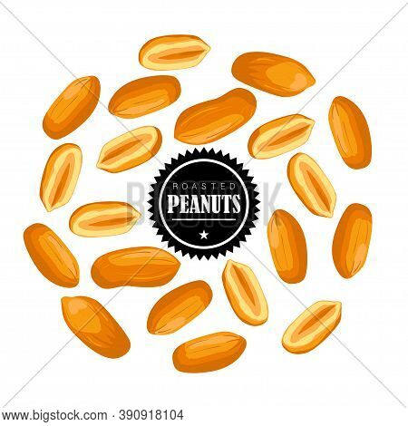 Roasted Peanut Nut Seed. Peanuts Seamless Pattern.