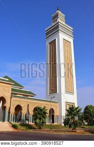 Minaret Of A Mosque In Kenitra, Morocco. View Of A Traditional Moroccan Minaret Tower, A Distinctive